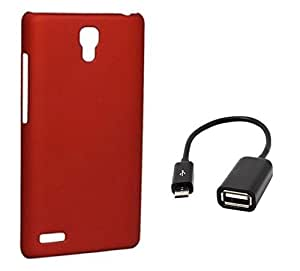 Tidel Stylish Rubberized Plastic Back Cover For Xiaomi Redmi Note ( Red ) With Micro OTG Cable