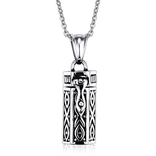Stainless Steel Tubular Urn Pendant Necklace for Memories Humans Cremation Ashes,Free Chain 22 inches (Urns Ashes Lockets compare prices)