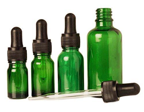 12 pcs bouteilles d'abandon de pipettes de sérum rechargeable gros vert œil de verre flacons compte-gouttes aromathérapie huiles essentielles 10 ml bouteilles vides