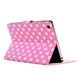 Eforstore 360 Degrees Rotating Stand Leather Smart Case Folio Flip Cover for Apple iPad Mini 7.9 Inch Lovely Polka Dots Pattern with Screen Protector & Touch Stylus (Green)