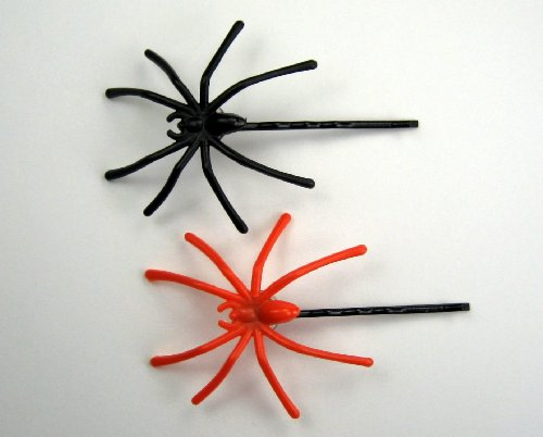 """Scary Halloween - Spiders in My Hair"" Baby Girl & Toddler Hair Clip/Bobby Pin (Orange & Black)"