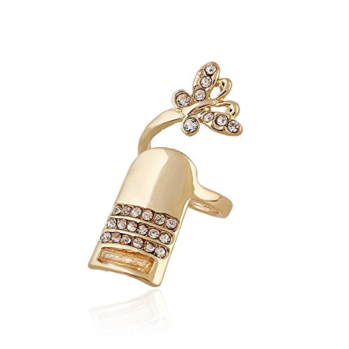 Winter's Secret Diamond Accented Gold Color Women and Girls Fashion Butterfly Fingernail Ring (Bjj Timer compare prices)