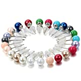 Flongo 12 pares de Pendientes de perlas abalorios bolitas de colores zarcillos peque�os de acero inoxidable, set de 12 colores oferta especial