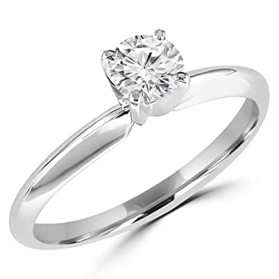 1/5 CT Solitaire Round Brilliant Cut Diamond Solitaire Engagement Ring in 10K White Gold