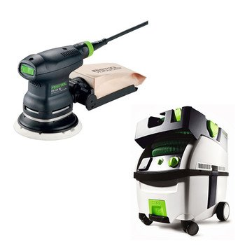 Festool Pi571817 Ets 125 Eq 5 In. Random Orbital Finish Sander With Ct Midi Hepa 3.3 Gallon Mobile Dust Extractor front-614589