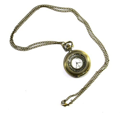 Medium Romantic Gold Steampunk Etched Long Chain Necklace Victorian Pocket Fob Style Watch