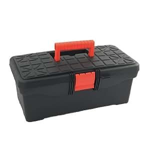 Plastic 2 Compartments Tool Box 35cm x 18cm x 15cm Black Red