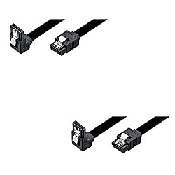 (2 Pack) Storite SATA III (SATA 3) cable black (40cm) with Locking Latch straight to Right Angle 90 Degree | compatible up to S-ATA/600 | Serial ATA | 1,5GBs/3GBs/6GBs (backward compatible) | S-ATA Cable l Compatible with Sata I and Sata II