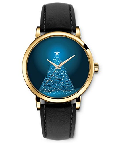 Sprawl Analog Quartz Movement Casual Style Black Genuine Strap -- Blue Sparkle Christmas Tree Watches For Girls front-994698