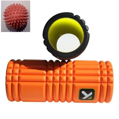 TP Therapy GRID Foam Roller with 3 Spiky Massage Balls
