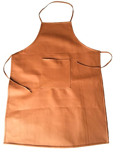 Durable PU Material Chef Kitchen Aprons Cooking Bib Apron With Practical Front Pocket Soft Apron For Cooking Grill Baking Gardening Repairing (Light Brown) (Pu Pu Grill compare prices)