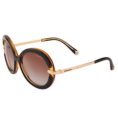 Ciemme Ciemme Luxury Classic Round Black Brown Sunglasses Gradient Lens Light Brown Frame For Women (CMSG2009) (Beige\/Sand\/Tan)