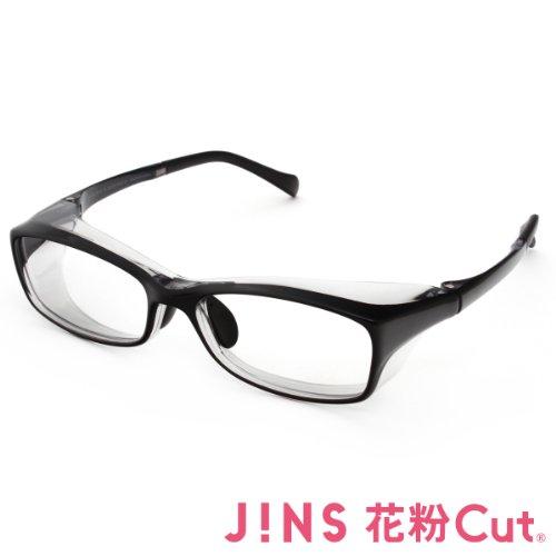 【JINS 花粉Cut(R)】花粉最大98%カット! 異物からスタイリッシュに眼を守るメガネ スクエア(度なし)BLACK