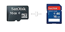 Sandisk 16GB MicroSdhc Card Class4 With SanDisk SDHC 16GB UHS-I Card Class 4 Combo Of 2Pcs Only From M.P Enterprise