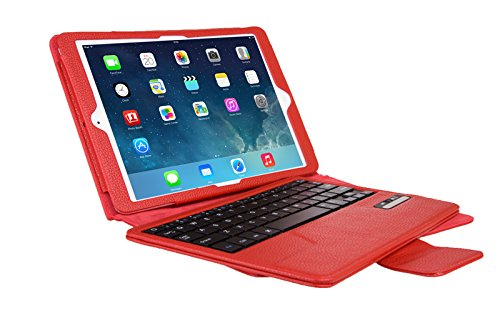 VSTNApple Ipad Air 2 ,ipad air 2 2014専用 脱着式Bluetooth キーボード ケース一体型 良質PUレザーケース付き(Ipad Air 2, レッド)