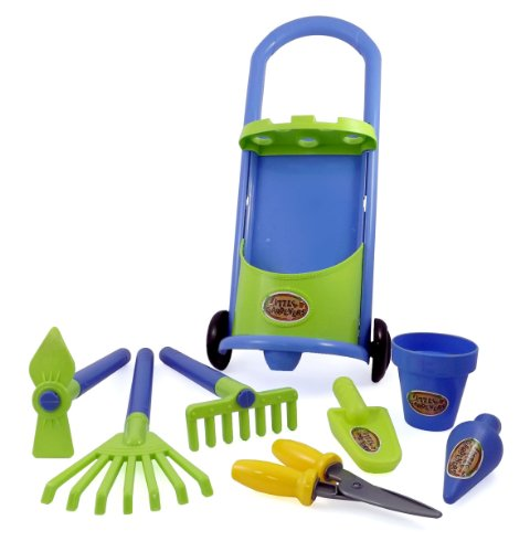 Garden Cart & Gardening Tools For Kids With Rake, Shovel, And Bucket Set
