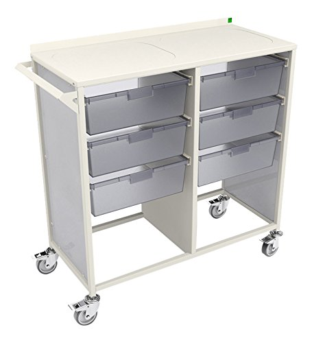 Bott Double Width Complete Healthcare Trolley with 6 Trays, Metal, White