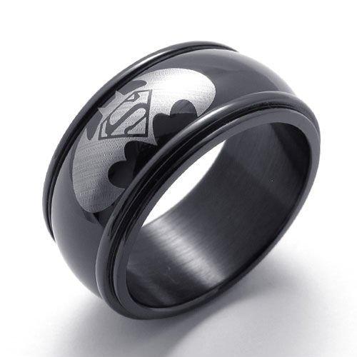 (キチシュウ)Aooazジュエリー メンズステンレスリング指輪 バットマンスーパーマンパターン ブラック 高品質のアクセサリー 日本サイズ19号(USサイズ9号)
