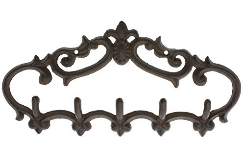 "Cast Iron Wall Hanger - Vintage Design with 5 Hooks - Keys, Towels, Clothes, Anprons - Wall Mounted, Metal, Heavy Duty, Rustic, Vintage, Recycled, Decorative Gift Idea - 12.9x 6.1""- With Screws And Anchors By Comfify - CA-1504-25-BR 1"