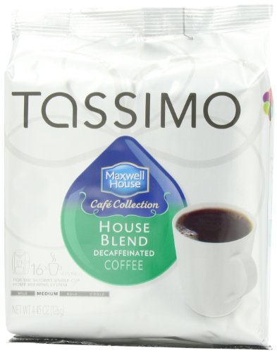 Maxwell House Cafe Collection House Blend Decaffeinated Coffee, Medium T-Discs For Tassimo Coffeemakers, 16-Count Packages (Pack Of 5)