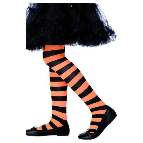 KIDS TIGHTS ORANGE&BLACK AGE 6-12 CHILDREN'S TIGHTS SMIFFYS FANCY DRESS COSTUME