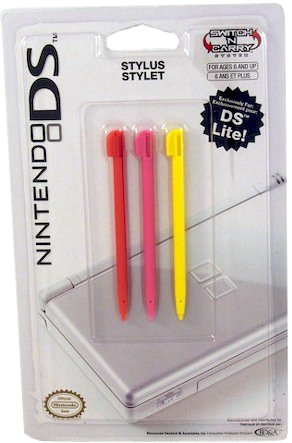 BD&A Red, Pink and Yellow Stylus Set for DS Lite (Nintendo DS)