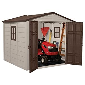 Suncast A01B02 Storage Building/Shed with 7.5 Feet x 7.5 Feet - 2 Windows, Shutters, Lockable Doors