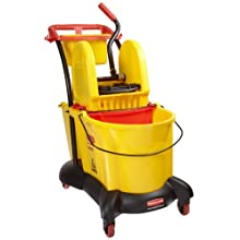 "Rubbermaid Commercial FG777700 WaveBrake Down Press Mopping Trolley, 8.75 Gallon Capacity, 28.9"" Length x 18.2"" Width x 38.6"" Height, Yellow"