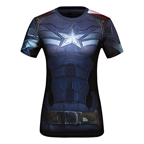 Cody Lundin® Donna Maniche Corte T-Shirt,Sport Fitness Running Yoga Danza Shirt Donna Supereroe Capitano leader Maglietta (XL, Capitano leader)