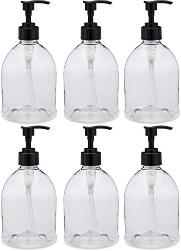 (6 Pack) Earth's Essentials Versatile 16 Ounce Refillable Designer Pump Bottles. Excellent Liquid Hand Soap Dispensers. Great for Dispensing Homemade Lotions, Shampoos and Massage Oils. (Bottle Dispenser Plastic compare prices)
