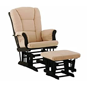 Stork Craft Tuscany Glider and Ottoman, Black/Beige