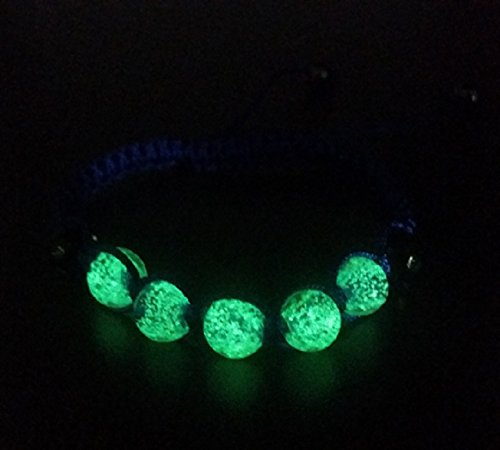 Glow In The Dark Shamballa Adjustable Bracelet Bangle Wristband – Women's Children's Unisex Rave Party Fashion Jewelry (Dk Blue Beads – Dk Blue Band)