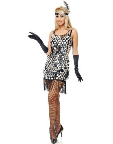Silver Sequin Flapper Adult Costume