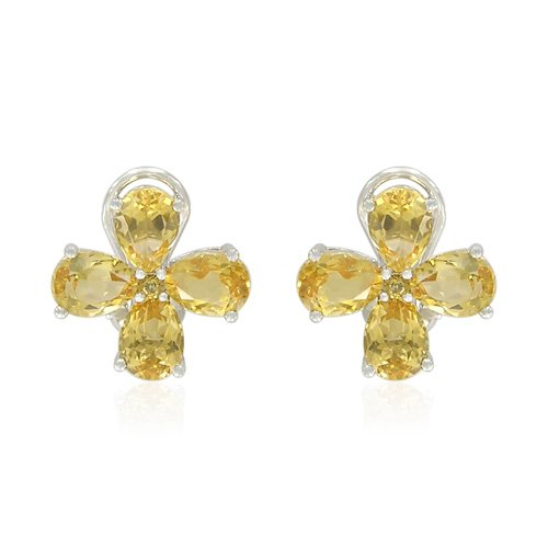 Sterling Silver Pear-Shaped Citrine Earrings