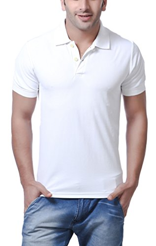American Crew Men's Polo Collar White T-Shirt – L (AC027A-L)