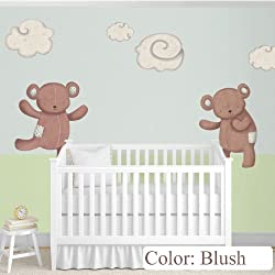 Teddy Bears Decals & Clouds Wall Stickers as Nursery Wall Décor (Blush)