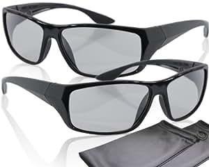 2 Spieler Splitscreen Polfilterbrillen - schwarz - kompatibel mit Dual Play von LG, Fullscreen Gaming von Philips, SimulView von Sony und Dual Gaming von Grundig (passive 3D TVs, keine Shutterbrillen) - mit Brillenbeuteln und Putztüchern - gleiche Technik, aber keine 3D Brillen