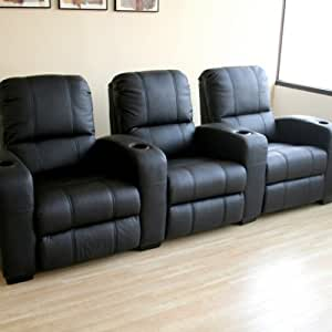 Baxton studio broadway home theater chairs in black row of 3 living room Home theater furniture amazon