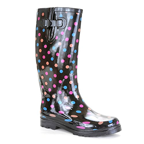 Twisted Women's DRIZZY Rubber Polka Dot Rainboots- PINK, Size 9