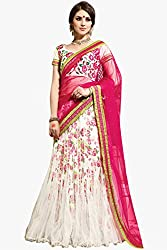Silk Net and Bhagalpuri Party Wear Lehenga Choli in White and Pink Colour