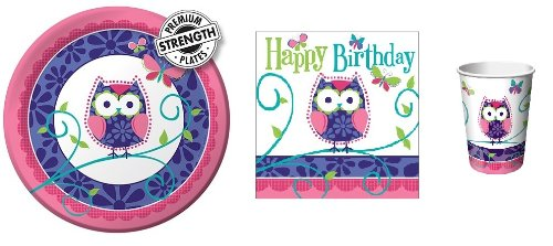 """Owl Pal Birthday - Party Pack - 8 - 9"""" Plates, 16 Napkins, & 8 cups- Birthday Party"""