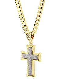 Mens Gold Tone Stardust Curved Cross…