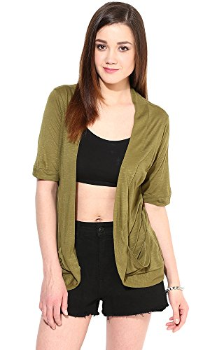 Trend18 Viscose Military Pocket Long shrug - Military Medium  available at amazon for Rs.199