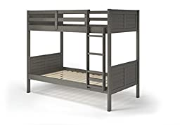 Manhattan Comfort Empire Collection Modern Solid Pine Wood Twin Size Convertible Children\'s Bunk Bed Set, Twin, Gray