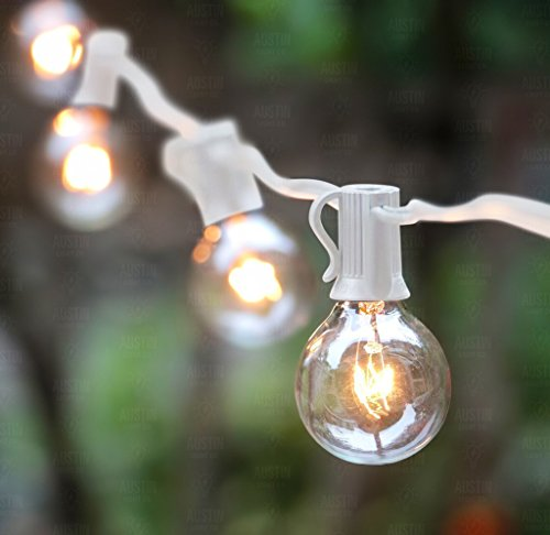 25 Foot G40 Globe String Lights With Bulbs ? White Wire ? By Austin Light Co. ? UL Listed ...