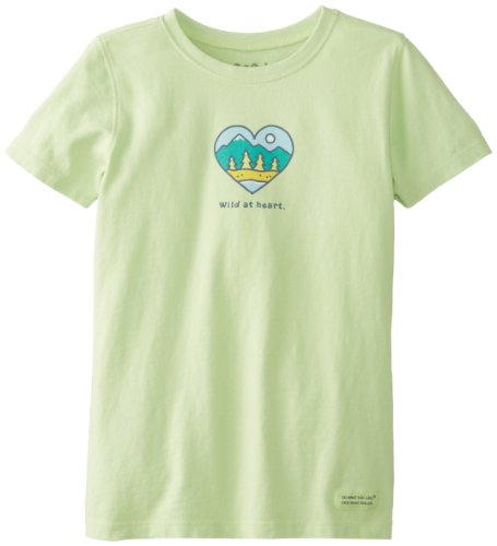 Life Is Good Girl'S Crusher Wild At Heart T-Shirt, Lime Green, Medium