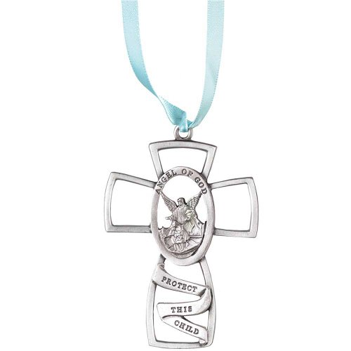 Child's Pewter Cross with Blue Ribbon - Guardian Angel