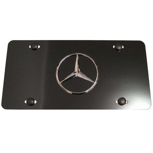 Mercedes benz star logo aluminum black front license plate for Mercedes benz license plate logo