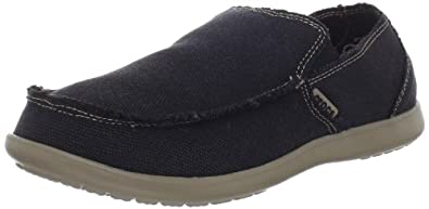 Crocs Men's 10128 Santa Cruz Loafer,Black/Khaki,7 M US