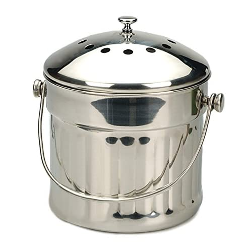 RSVP Endurance Stainless Steel Jumbo Compost Pail, 1-1/2-Gallon